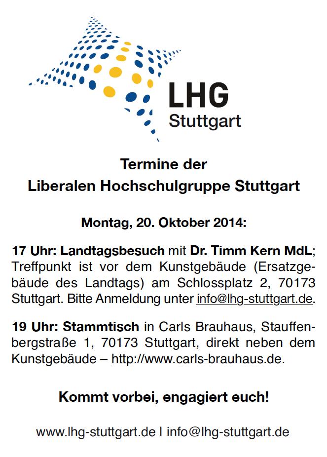 Termine der Liberalen Hochschulgruppe Stuttgart